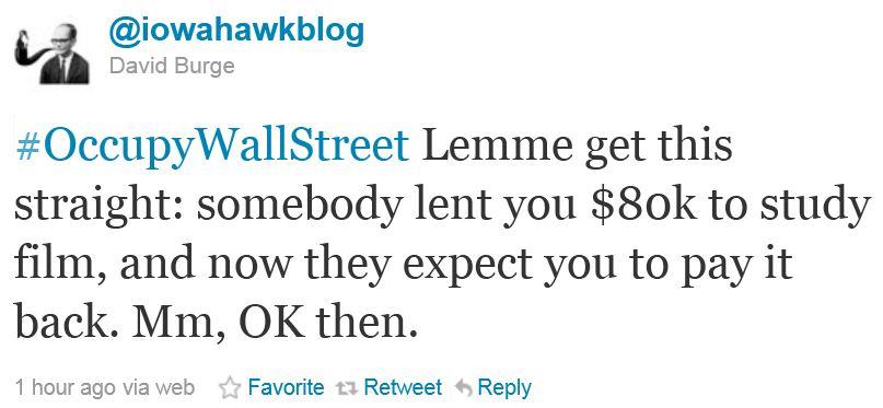 Twitter - @IowaHawkBlog - Occupy Wall Street