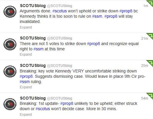 Twitter - @Scotusblog - Marriage Oral Argument tweets
