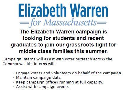 Elizabeth Warren Campaign Intern Flyer1