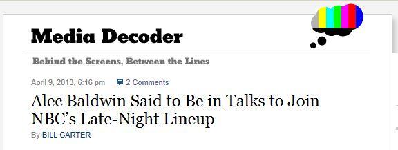 NYT Alec Baldwin late night