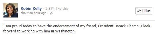 Robin Kelly Facebook - Obama endorsement