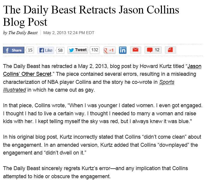 Daily Beast retracts Kurtz column