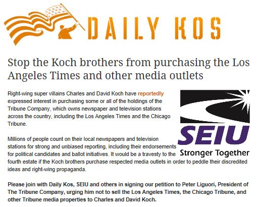 Daily Kos Campaign to stop Koch purchase LA Times