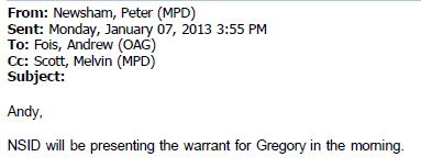 Gregory OAG Email Jan 7 2013 re presenting warrant