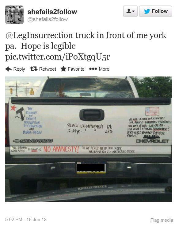 Bumper Sticker - York PA - No Amnesty1