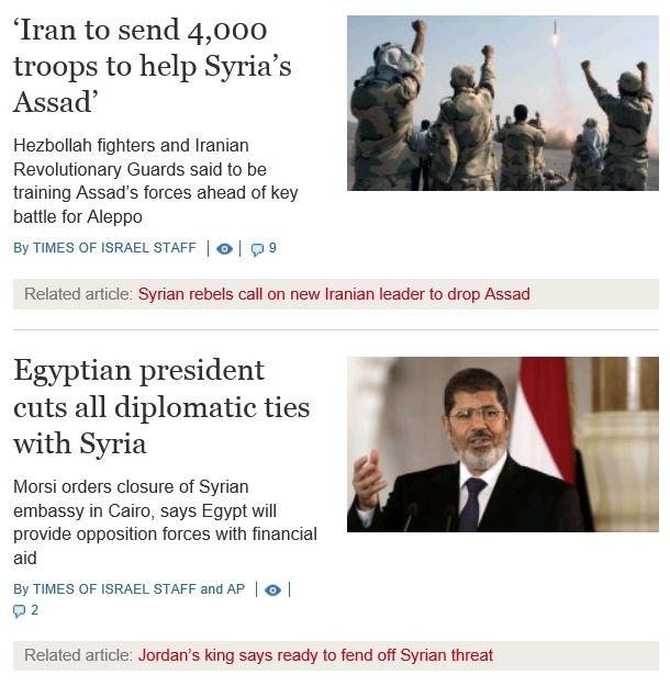 Times of Israel Syria Morsi