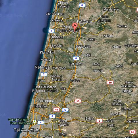 (Kibbutz Ein Shemer, Israel, map location)