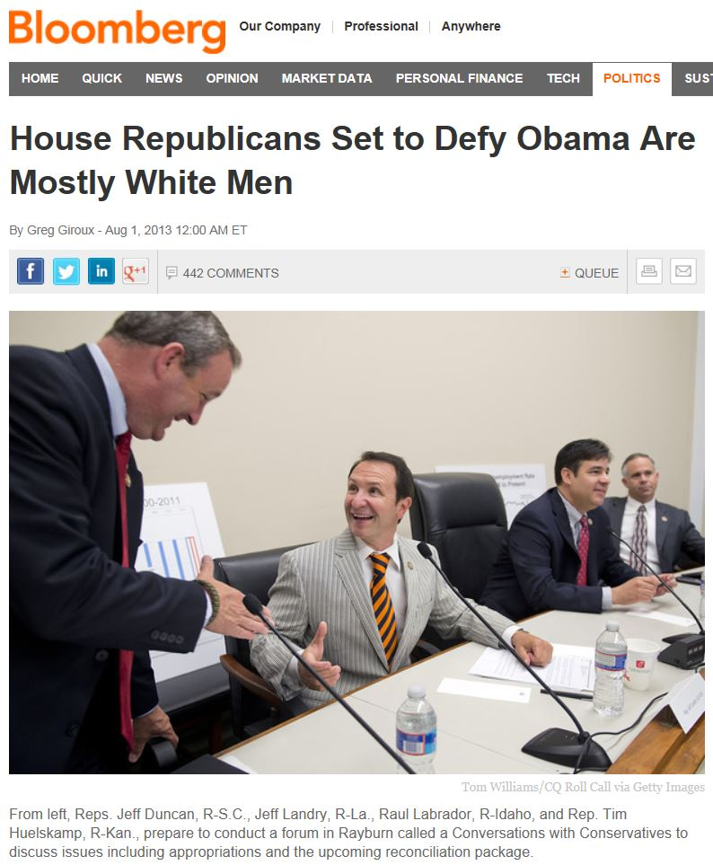 Bloomberg News - House Republicans Set to Defy Obama Are Mostly White Men