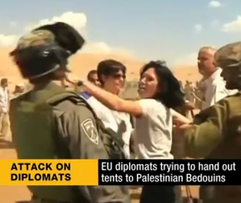French Diplomat hits Israeli soldier