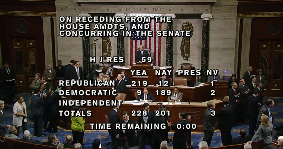 House final vote Amendments to fund government