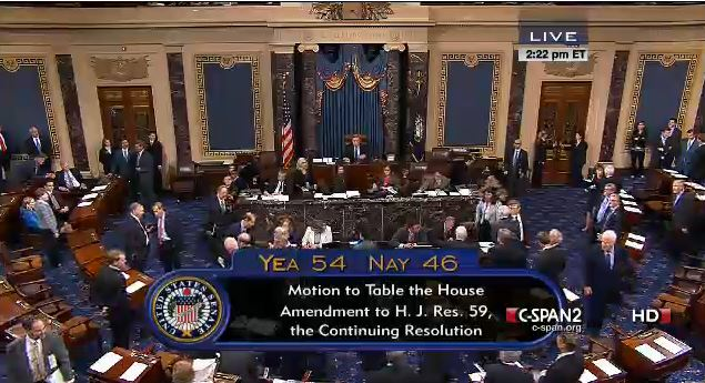 Senate Final Vote Count to Table House Continuing Resolution