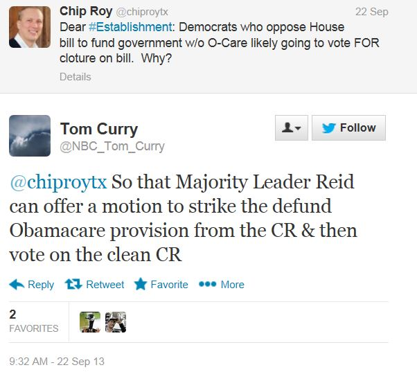 Twitter Tom Curry NBC Cloture Obamacare Defund
