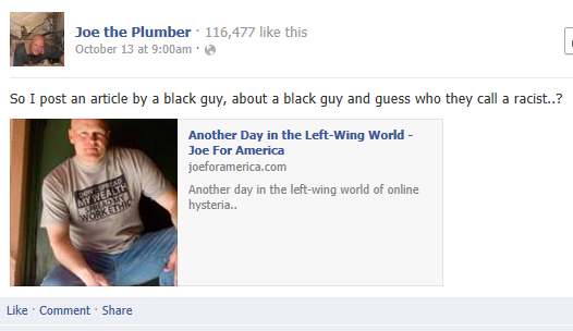 Joe The Plumber Facebook Oct 13 9 a.m.