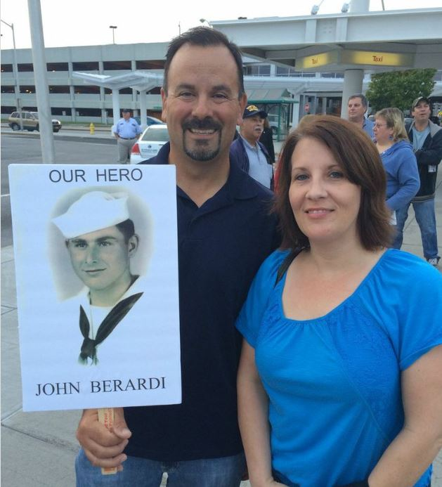 "(""Our Hero"" sign for returning Syracuse Honor Flight)"