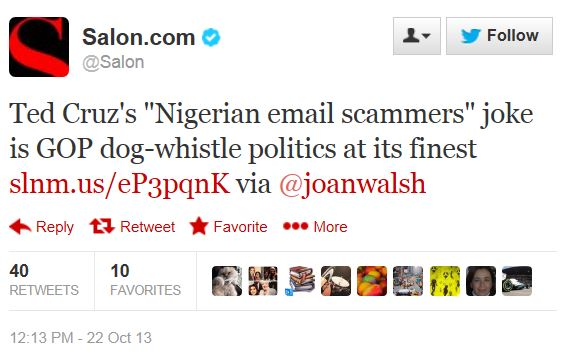 Twitter - @Salon - Nigerian scammer dog whistle