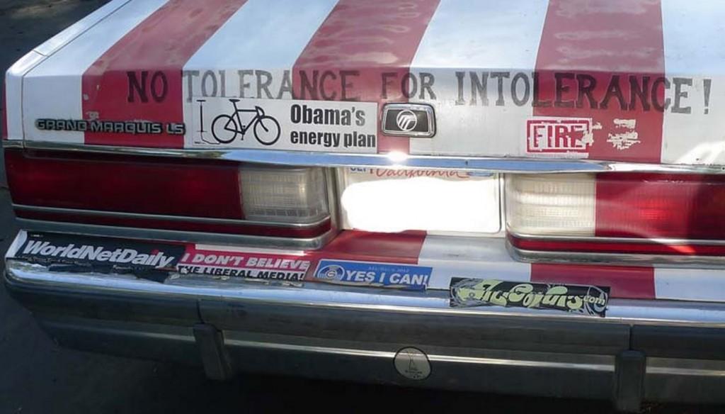 Bumper Sticker - Malibu - Rear Flag Car close up