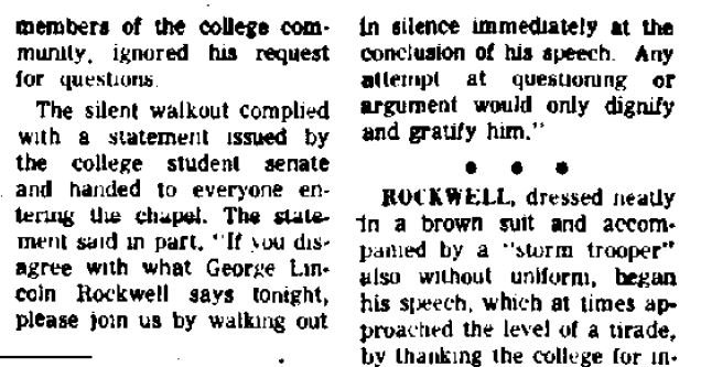 George Lincoln Rockwell at Hamilton College excerpt