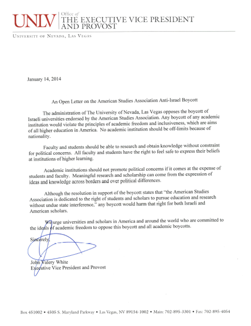 University of Nevada - Las Vegas re boycott