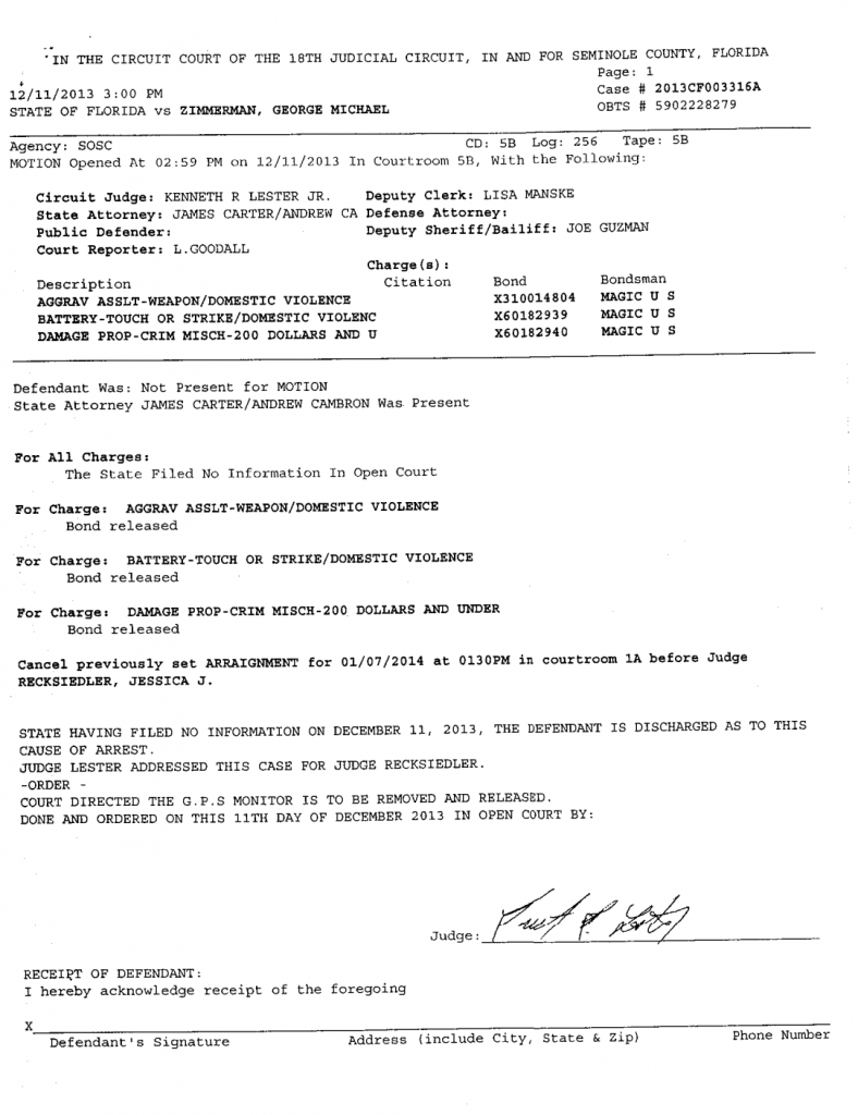 Zimmerman Court Release Record 12-11-2013 p 2
