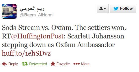 Twitter Oxfam Johansson Settlers win