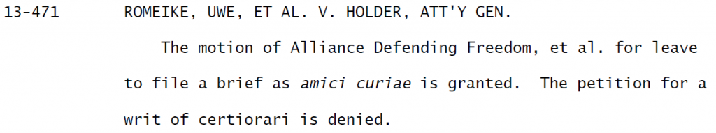 Romeike Denial Cert Petition US Supreme Court
