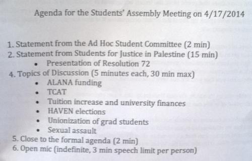 Cornell Alternative Assembly Agenda 4-17-2014