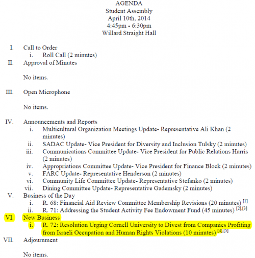 Cornell Student Assembly Revised Agenda April 10, 2014 marked