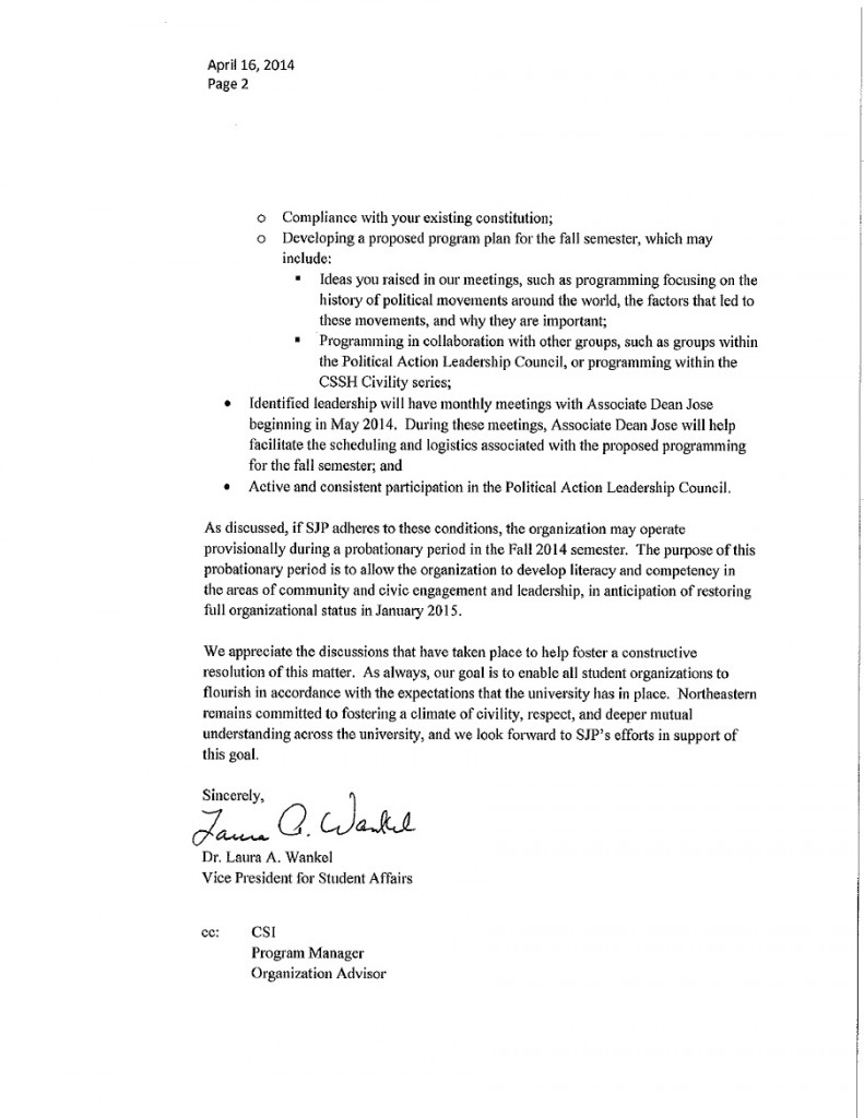 Northeastern SJP Reinstatement Letter Page 2 April 16, 2014