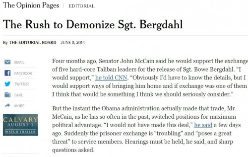 NY Times Rush to Demonize Sgt Bergdahl 6-6-2014 9 30 am