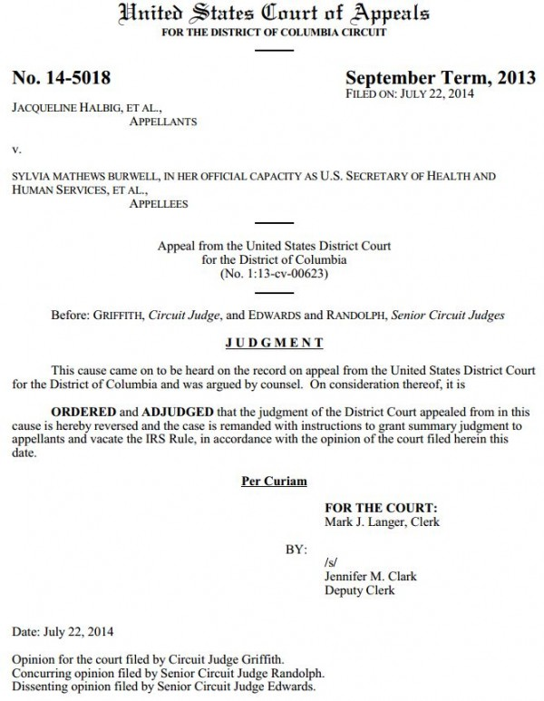 Halbig Obamacare subsidy Judgment D.C. Circuit