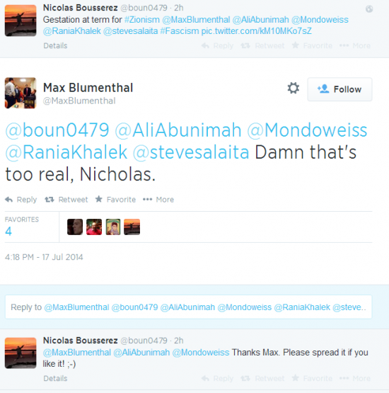 Twitter - @maxblumenthal - reaction giving birth hitler Zionism