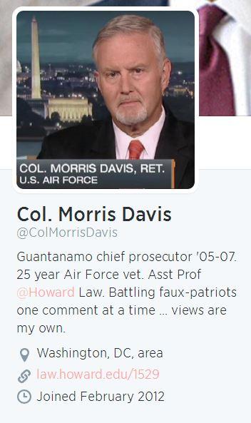 Col. Morris Davis Twitter Profile
