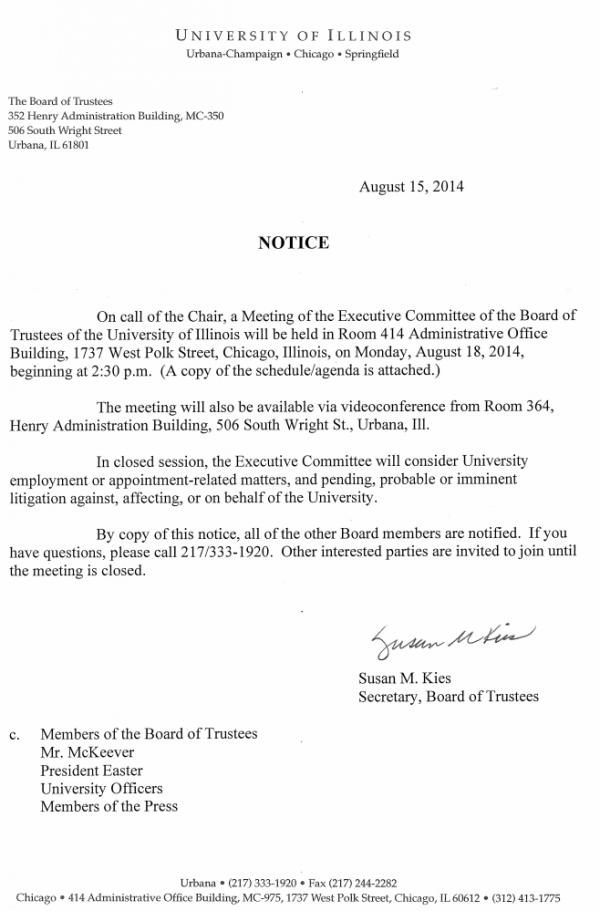 Notice University Illinois Executive Committee meeting August 18 2014