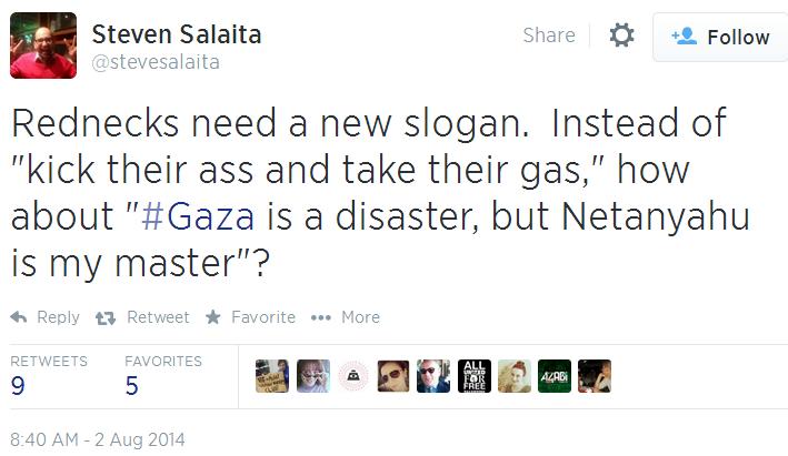 Twitter _ stevesalaita_ Rednecks need a new slogan Netanyahu my master
