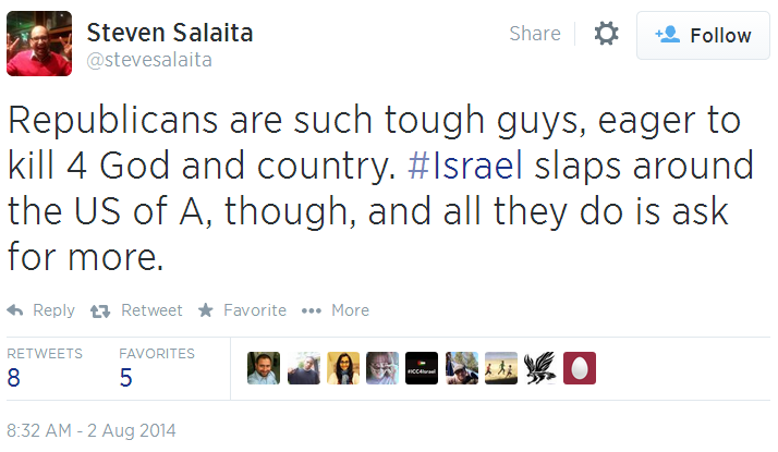 Twitter _ stevesalaita_ Republicans are such tough Israel slaps around USA