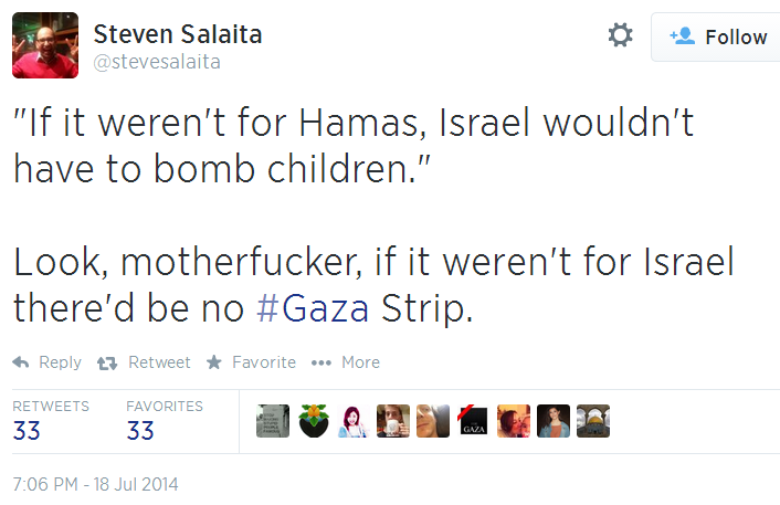 Twitter _ stevesalaita_ _If it weren't for Hamas, Israel