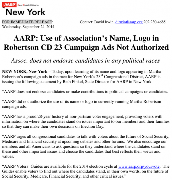 AARP Press Release Martha Robertson Ad