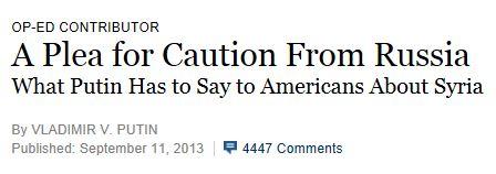 Putin Op Ed NY Times headline