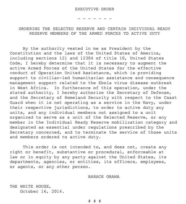 Obama Ebola Executive Order October 16 2014