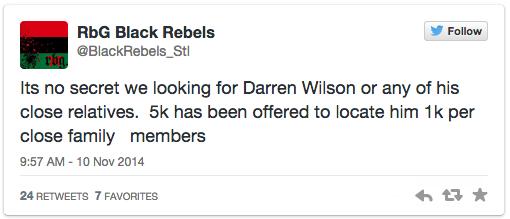 $1,000 Daren Wilson family members #Ferguson