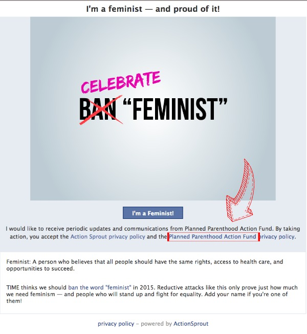 Planned Parenthood organizes against TIME Magazine feminist poll banned words
