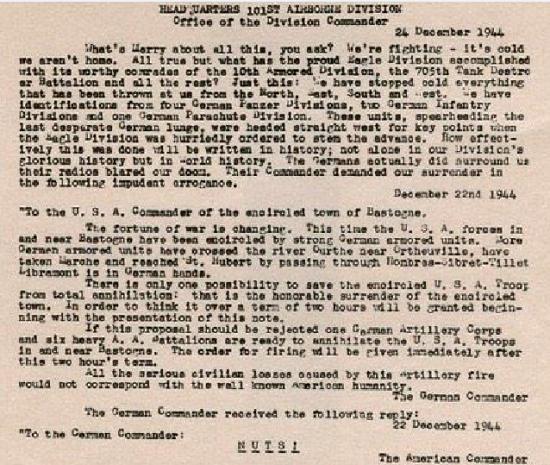 Battle of the Bulge Christmas Message 1944 Gen McAuliffe