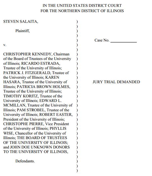Steven Salaita v Christopher Kennedy et al - Complaint Cover Page
