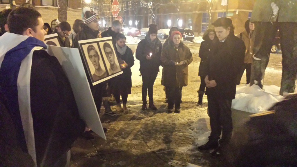 Rasmea Odeh Protest Vigil DePaul 2-3-2015 Students Saying Prayer