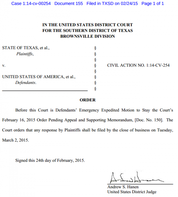 Texas v. U.S. - Immigration Case - Order 2-24-2014 Re Emergency Stay Deadline
