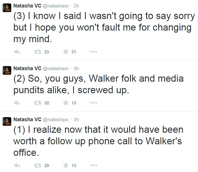 Twitter NatashaVC Scott Walker Sexual Assault Reporting Apology