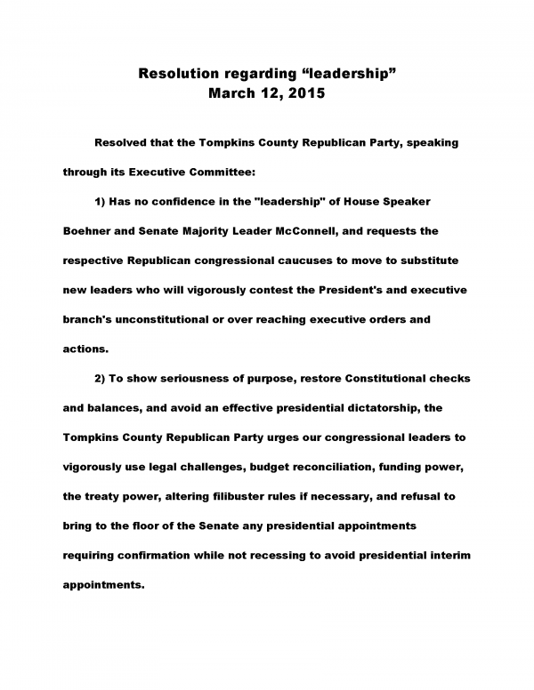Tompkins County GOP Resolution on Congressional Leadership March 2015