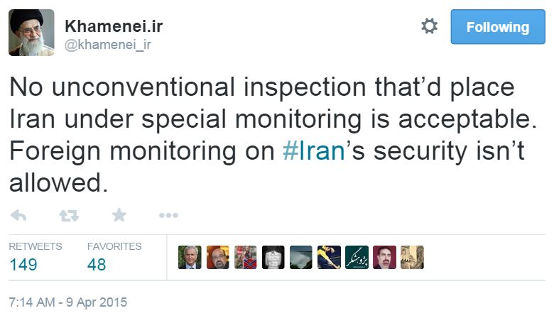 Twitter Khameini White House Iran Fact Sheet Inspections