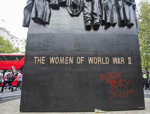 London Protests Tories Defaced War Memorial