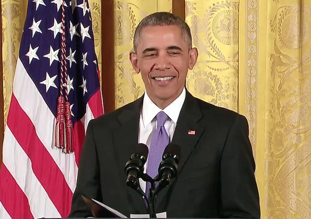 obama laughs at the press